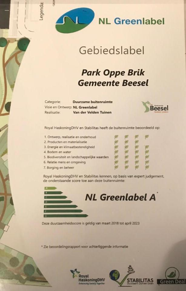 NL Greenlabel certificaat Van der Velden Tuinen
